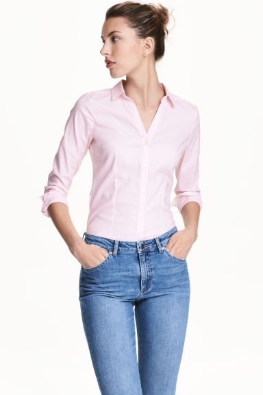 合身襯衫 - Light pink/Striped - Ladies | H&M 1