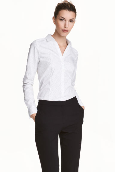 Fitted shirt - White/Spotted -  | H&M CA 1