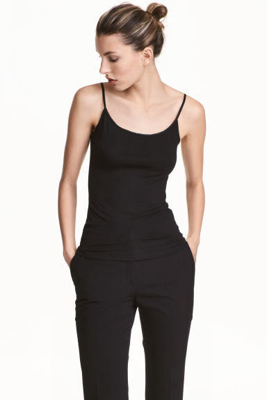 Strappy viscose top - Black - Ladies | H&M 1
