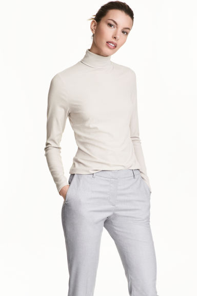 Fine-knit polo-neck jumper - Natural white -  | H&M