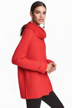 Knitted cowl-neck jumper - Red - Ladies | H&M CN 1