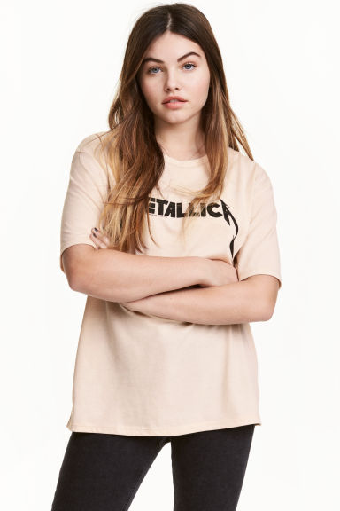 Printed T-shirt - Beige/Metallica - Ladies | H&M CN 1