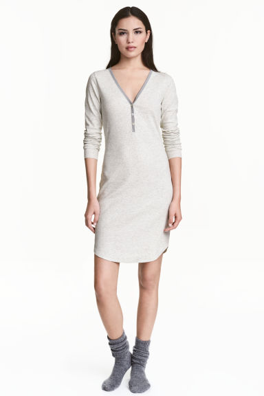 Ribbed nightdress - Grey marl - Ladies | H&M 1