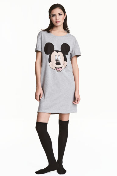 Printed nightdress - Grey/Mickey Mouse - Ladies | H&M CN 1