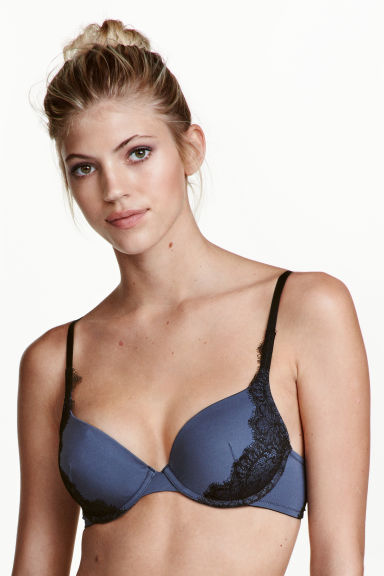 Reggiseno push-up in pizzo - Blu tortora - DONNA | H&M IT