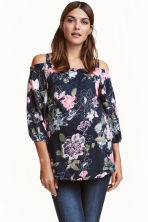 MAMA Off-the-shoulder top - Dark blue/Floral - Ladies | H&M CN 1