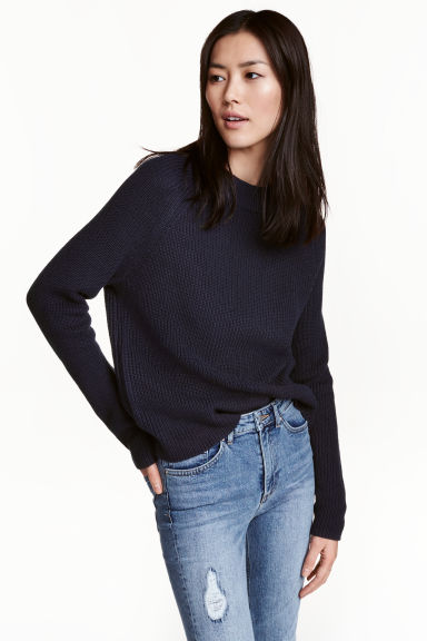 Knitted jumper - Dark blue - Ladies | H&M CN 1