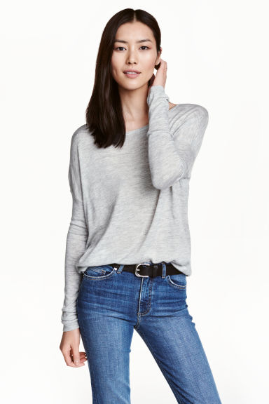 Fine-knit jumper - Light grey marl - Ladies | H&M CN 1