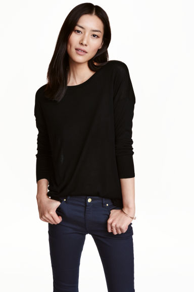 Fine-knit jumper - Black - Ladies | H&M 1
