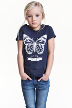 Short-sleeved top - Dark blue/Butterfly -  | H&M 1