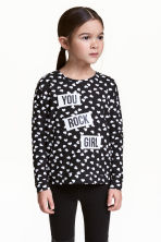 Long-sleeved top - Black/Heart - Kids | H&M 1