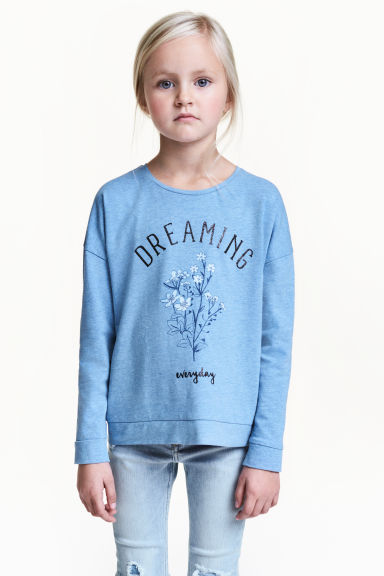 Long-sleeved top - Blue - Kids | H&M CN 1