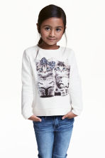 Sweatshirt - White/Cats - Kids | H&M CN 1