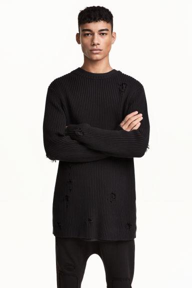 Rib-knit jumper - Black - Men | H&M CN 1