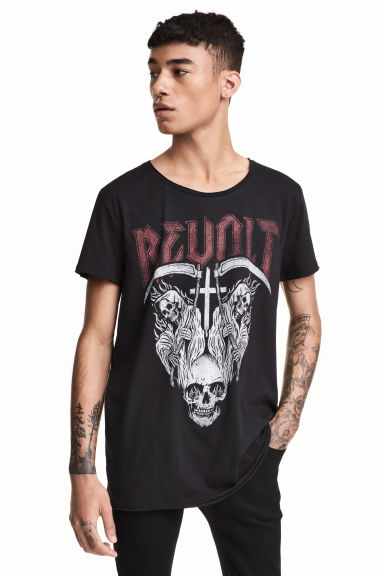 T-shirt stampata - Nero/Revolt - UOMO | H&M IT 1