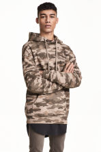 Patterned hooded top - Mole/Patterned - Men | H&M 1