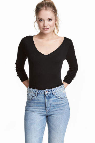 Top in jersey con scollo a V - Nero - DONNA | H&M IT 1