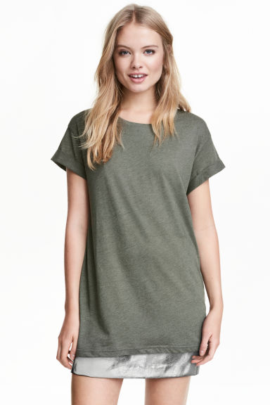 Long T-shirt - Khaki green - Ladies | H&M 1