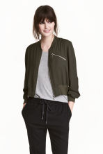 Short bomber jacket - Dark khaki green - Ladies | H&M 1