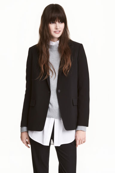 Straight-cut jacket - Black - Ladies | H&M 1
