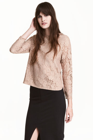 Lace top - Beige - Ladies | H&M 1