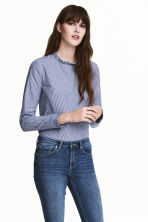 Frilled cotton blouse - Dark blue/Striped - Ladies | H&M 1