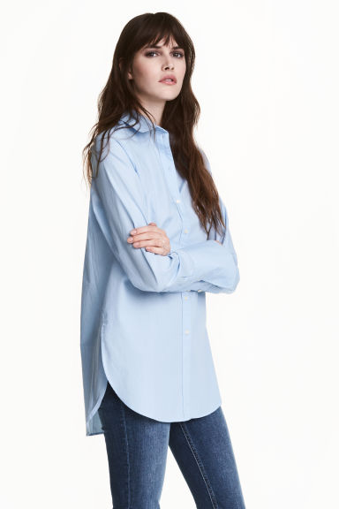 寬鬆棉質襯衫 - Light blue - Ladies | H&M 1