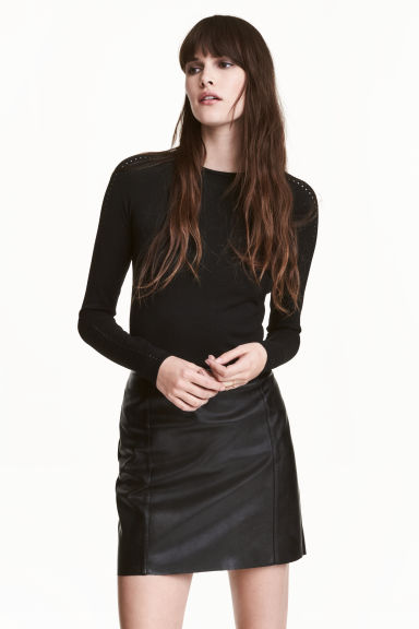 Fitted top - Black - Ladies | H&M
