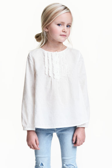 Textured blouse - White - Kids | H&M CA 1