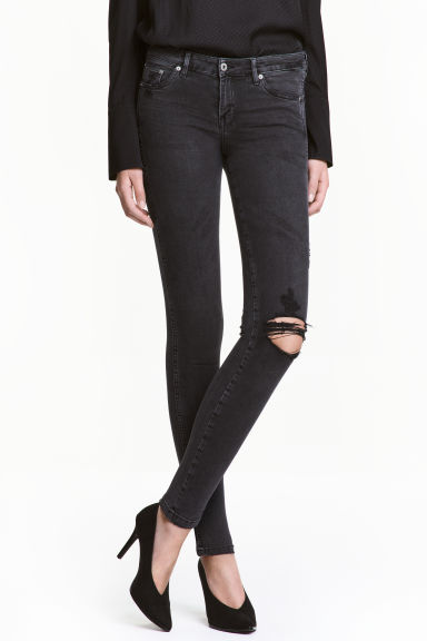 Super Skinny Low Jeans - 水洗黑色 - 女士 | H&M CN 1