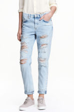 Boyfriend Low Ripped Jeans - 浅牛仔蓝 - 女士 | H&M CN 1