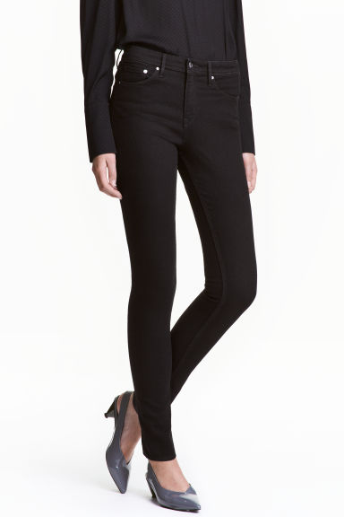 Skinny Regular Jeans - Black denim - Ladies | H&M