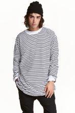 Oversized long-sleeved T-shirt - White/Black striped - Men | H&M 1