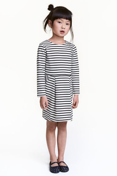 Jersey dress - White/Black striped -  | H&M 1