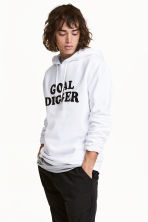 Printed hooded top - White/Text - Men | H&M 1