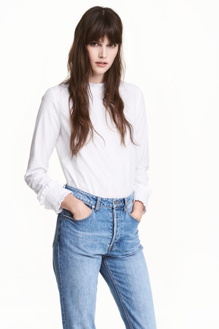 Frilled cotton blouse