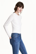 Fitted top - White - Ladies | H&M CA 1