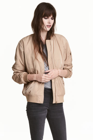Oversized bomber jacket - Beige - Ladies | H&M CN