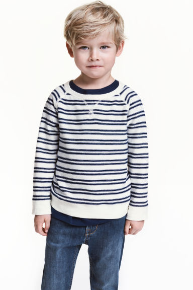 Purl-knit jumper - Natural white/Striped -  | H&M CN 1