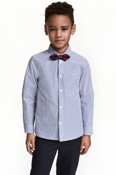 Shirt with a tie/bow tie - Dark blue/Striped - Kids | H&M