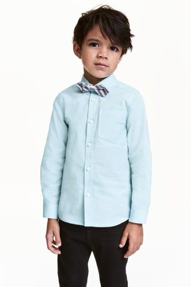 Shirt with a tie/bow tie - Light mint green -  | H&M CN