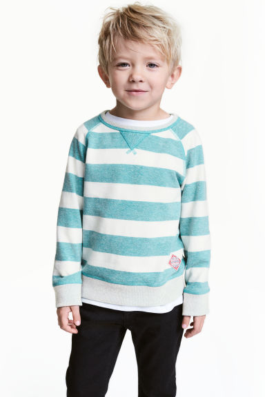 Sweatshirt - Mint green/Striped -  | H&M