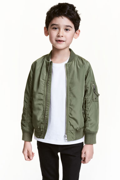 Padded bomber jacket - Khaki green - Kids | H&M