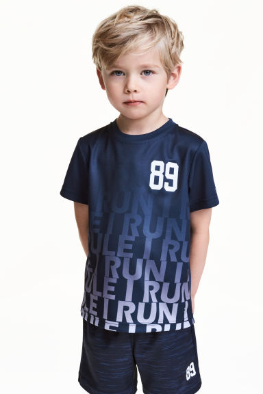 Short-sleeved sports top - Dark blue - Kids | H&M 1