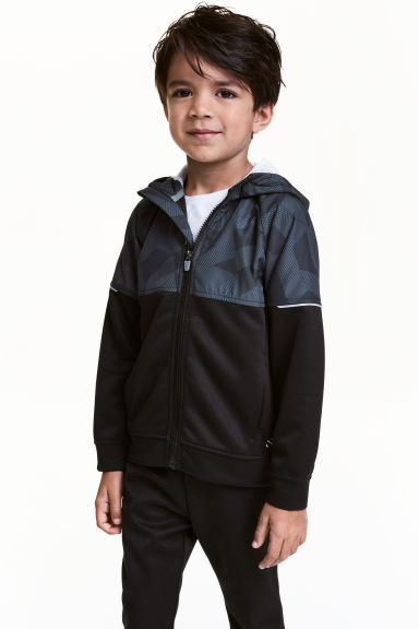 Hooded sports jacket - Black - Kids | H&M 1