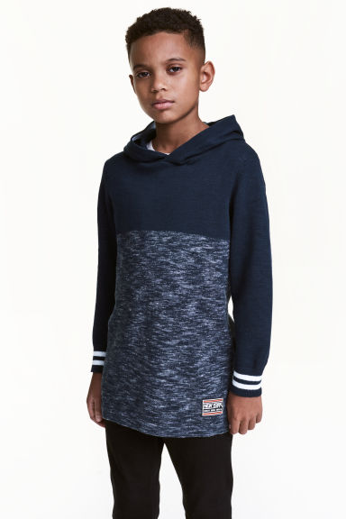 Fine-knit hooded top - Dark blue marl - Kids | H&M 1