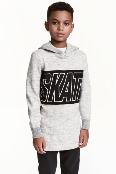 Fine-knit hooded top - Light beige marl - Kids | H&M 1