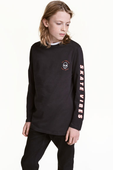 Long-sleeved T-shirt - Black/Los Angeles - Kids | H&M CN