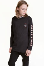 Long-sleeved T-shirt - Black/Los Angeles - Kids | H&M 1