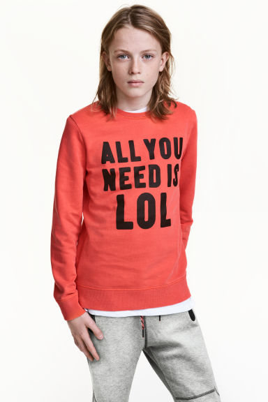 Printed sweatshirt - Dark orange - Kids | H&M CN 1
